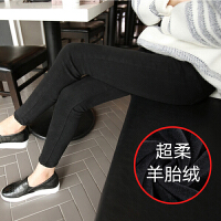 黑色加绒带绒牛仔裤女九分裤冬季韩版高腰显瘦加棉加厚保暖小脚裤