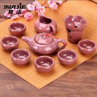 冰裂茶具套装简约冰裂釉茶具家用功夫陶瓷七彩茶壶茶杯组合套