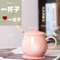 马克杯 卡通大肚早餐简约胖胖杯2020韩式陶瓷带盖勺大容量情侣萌爱咖啡杯子