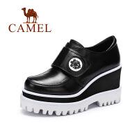 Camel/骆驼女鞋新款 单鞋 舒适高跟圆头魔术贴女鞋
