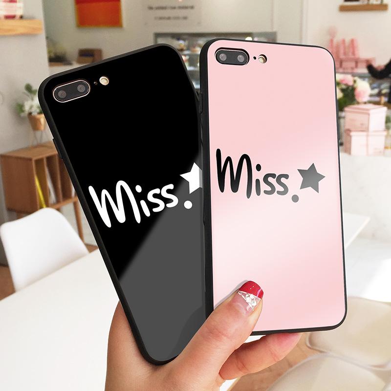 miss星星苹果X手机壳创意潮款iPhone7玻璃壳清新简约XSMAX防摔XR网红明星同款8时尚文字8plus秀恩爱情侣款6六