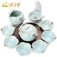冰裂釉仿汝窑茶具套装 创意过滤功夫茶具套装整套茶具