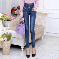 白领公社 牛仔裤 女士春季新款修身小脚铅笔裤子女式紧身排扣高腰学生长裤