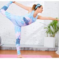 印花 速干瑜伽服套装女宽松显瘦 运动背心女跑步健身服 两件套 支持礼品卡