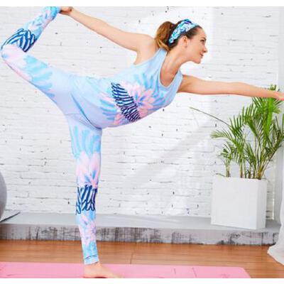 印花 速干瑜伽服套装女宽松显瘦 运动背心女跑步健身服 两件套  支持礼品卡 品质保证 售后无忧 支持货到付款