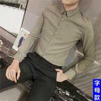 衬衫男学生男士衬衫长袖韩版修身型衬衣夜场商务休闲潮流帅气发型师寸衫