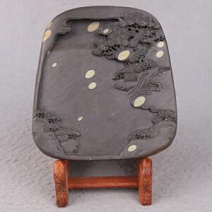 中国非物质文化遗产传承人群 钟景锐作品《松山骏景》砚 梅花坑