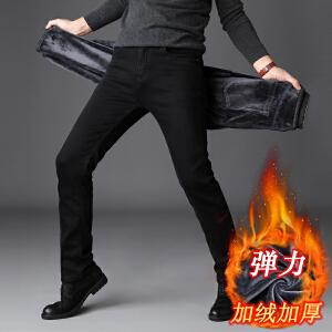 加绒牛仔裤男秋冬款黑色修身加厚2018新款韩版潮流休闲冬季裤子男