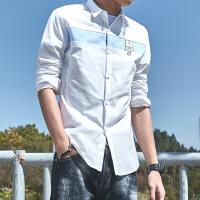 春款衬衫男韩版潮长袖青少年学生帅气文艺小清新白色修身衬衣打底