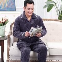 男士睡衣冬季三层加厚加绒珊瑚绒夹棉套装中年爸爸保暖家居服秋冬1009