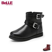 【到手价:259.2元】百丽Belle童鞋女童皮靴2019冬季新款中大童加绒时装靴儿童侧拉链牛皮靴(3-15岁可选)D