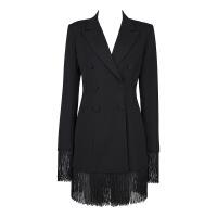 新女士外套2018年新款女装小西装 流苏休闲西装外套女 黑色