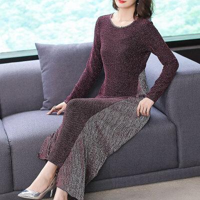 气质长裙女秋季新款长袖收腰大摆拼接撞色不规则连衣裙