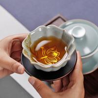手绘银莲花汝窑茶杯个人杯开片可养大号汝瓷茶盏主人杯手工单杯