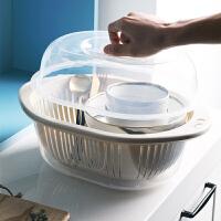 沥水篮 多功能厨房双层洗菜篮果蔬沥水篮省水简易碗架塑料制品加厚收纳篮带盖沥水篮