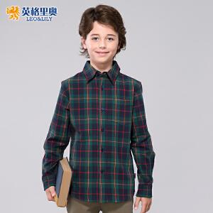 棉长袖衬衫中大童休闲儿童格子翻领衬衣潮 藏青彩格