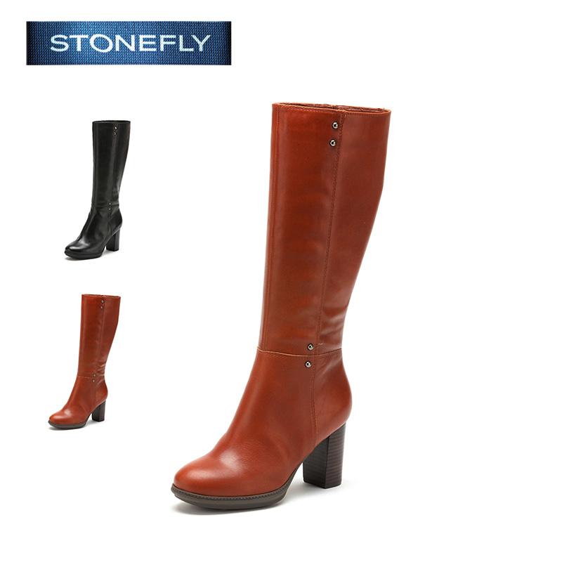 STONEFLY/斯通富来冬季拉链牛皮高粗跟休闲百搭长筒靴女士冬靴SD44111108