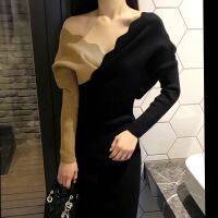2018新款时尚优雅女外套春秋韩国代购2018秋冬季新款女装时尚修身V领连衣裙针织