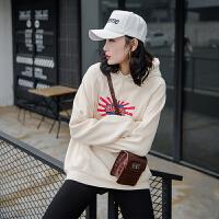 加绒连帽卫衣女2018新款中长款印花长袖韩版潮牌外套个性口袋