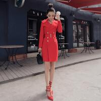 2018春季显瘦大红色女韩版中长款修身小西装通勤时尚气质女装风衣 大红色 X