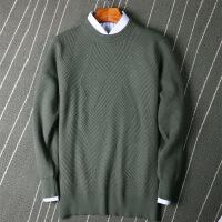 新款男士线衫反季纯羊绒衫男圆领加厚套头短款毛衣春秋羊毛衫商务休闲针织