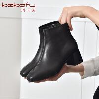19珂卡芙冬季新款【耐看】舒适粗跟纯色时装靴简约毛靴透气女靴