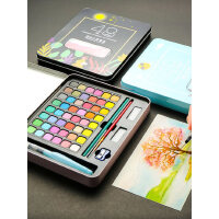 固体水彩颜料套装48色画笔36色固体水彩盒工具箱套装铁盒学生初学者水粉颜料套装色彩画水彩画笔绘画水彩分装