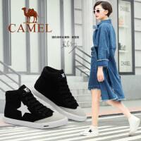 camel骆驼女鞋 新款 欧美街头时尚印花五星高帮鞋圆头舒适帆布鞋
