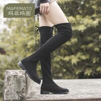 玛菲玛图2020秋冬新品女靴瘦腿低跟长靴欧美潮流后系带过膝靴Y888