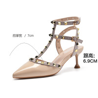 2019夏季新款【性感铆钉】尖头高跟单鞋细跟时尚百搭女凉鞋