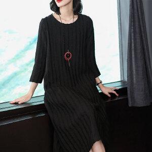 秋季新款女装时尚气质圆领七分袖宽松中长款黑色打底连衣