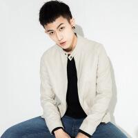 男士皮衣短款皮夹克修身韩版秋季外套青年皮立领机车服潮87Q-ESP7078PY