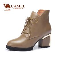 Camel/骆驼女鞋 通勤 头层牛皮圆头高跟粗跟侧拉链女短靴
