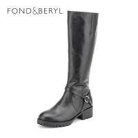 【399元2双】菲伯丽尔(Fondberyl) 牛皮革粗跟圆头时尚长靴FB54114029