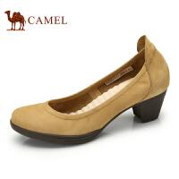 camel骆驼女鞋 秋季新款单鞋 浅口粗跟女鞋日常休闲女单鞋