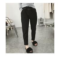 加厚牛仔裤女式冬季韩版小脚裤显瘦女裤高腰休闲裤抽绳加绒哈伦裤