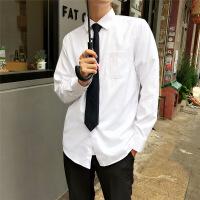 韩版小清新衬衫港风文艺男长袖色宽松学生打底港仔衬衣潮流