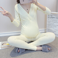 产后哺乳睡衣喂奶加绒加厚保暖内衣孕妇秋衣秋裤套装秋冬季月子服