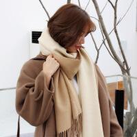 气质款chao柔软双面仿羊绒围巾披肩两用女韩版简约加厚秋冬季围脖