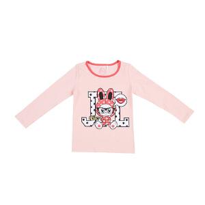 jjlkids季季乐女童长袖T恤小童圆领棉上衣卡通兔子图案a类童装GQT63127
