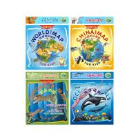 中国地图+世界地图+恐龙地图+海洋动物  4合1套装