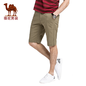 【专区满199减120】骆驼男装 夏季新款青年中腰微弹休闲短裤男士修身五分裤