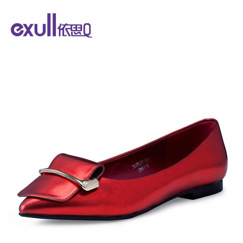 依思q新款纯色扣带金属平底鞋尖头套脚浅口单鞋女56170291* 品牌直降 售罄不补货