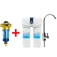 3M中央前置过滤器3CP-F020-5反冲洗 管道过滤 非直饮+双子净智净水机DWS6000T-CN净水器 直饮机