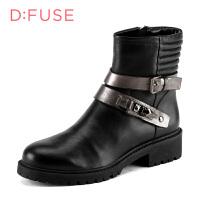 【189元2双】迪芙斯(D:FUSE)女靴 牛皮革皮带扣粗跟舒适短靴 DF54115185 黑色/锡灰色