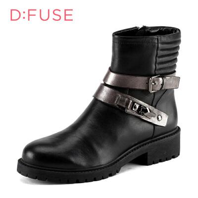 迪芙斯(D:FUSE)女靴 牛皮革皮带扣粗跟舒适短靴 DF54115185 黑色/锡灰色