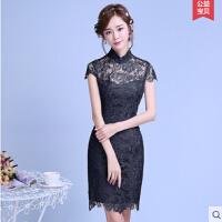 时尚修身旗袍 新款改良版日常连衣裙蕾丝性感少女短款