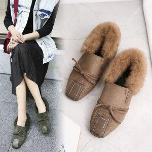 O'SHELL欧希尔新品105-168-1韩版磨砂绒面平底鞋女士獭兔毛懒人鞋