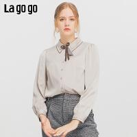 Lagogo/拉谷谷2019新款单排扣蝴蝶结装饰衬衫女ICCC43YC15