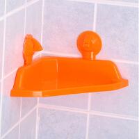 耀点100 强力吸盘三角浴室置物架--橘红色